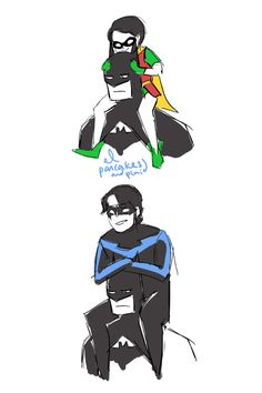 pancakesandplaid: its not cute anymore --- Lies! This is adorable! Batman and Robin / Nightwing