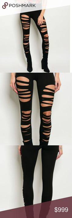 In Stock! S/M/L Distressed Black Leggings Trendy! Black distressed leggings.  Available in small, medium, or large, these fitted leggings have a trendy ripped appearance.  95% Cotton, 5% Spandex.  Offers and questions are encouraged! Pants Leggings