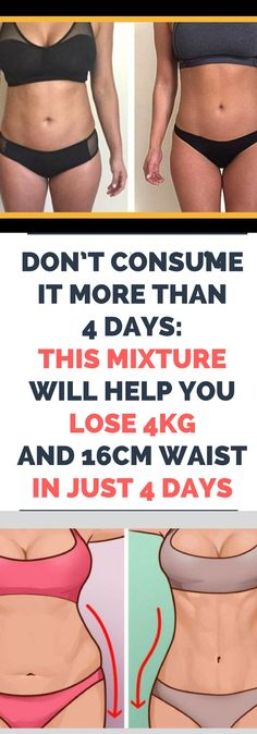 DON'T CONSUME IT MORE THAN 4 DAYS: THIS MIXTURE WILL HELP YOU LOSE 4KG AND 16CM WAIST IN JUST 4 DAYS!.! !!!