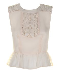 Take a look at this Cream Ellis Peplum Top by Darling on #zulily today!