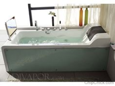"""This Hi-Tech bathtub comes with a 17'"""" waterproof LCD, back massage jets, and an FM radio. Need we say more? [http://www.ubergizmo.com/2008/08/cosmo-b-dv003-tv-bathtub/]"""