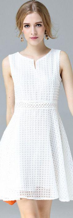 White Grid Sleeveless A-line Dress