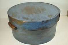 PANTRY BOX,Ca: 1880s, Old Blue Milk Paint.  Sold Ebay  267.00