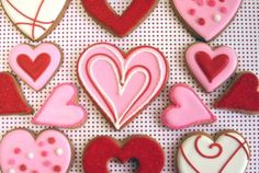 Valentine's Day Wedding Heart Shaped Pink and Red Cookies