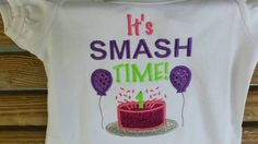 Check out It's Smash Time Babies First Birthday Embroidered Applique Shirt Creeper Boys Girl on fabuellaboutique