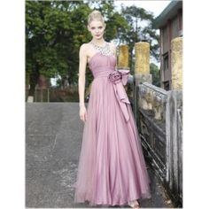 A-line/ Princess Jewel Floor-length Rushed Chiffon Evening Dress With Bowknot