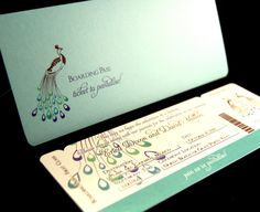 New to anaderoux on Etsy: Peacock boarding pass invitation (5.50 USD)