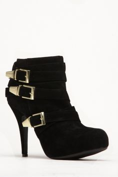 Bamboo Black Buckle Round Toe Bootie