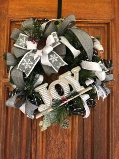 Christmas Wreaths For Front Door, Snowflake Door Wreath, Rustic Christmas, Whimsical Wreath, Christm Christmas Wreaths For Front Door, Christmas Ribbon, Christmas Signs, Rustic Christmas, Christmas Decorations, Holiday Decor, Joy Sign, Valentine Wreath, Mesh Wreaths