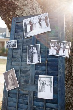 ENTRY DECOR: Generational family wedding photos displayed upon a rustic shutter