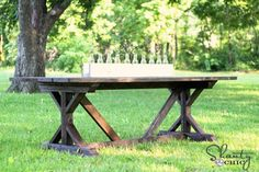 Fancy X Farmhouse Table - Love this table for my back patio. I have been looking everywhere for a long narrow table, but looks like I may have to build something. Good to learn new skills right?