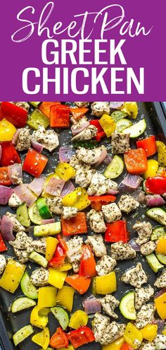 These Sheet Pan Greek Chicken Meal Prep Bowls are a low carb make ahead lunch idea seasoned with a simple lemon-oregano marinade, and they're ready in just 30 minutes! Good Healthy Recipes, Whole Food Recipes, Dinner Recipes, Cooking Recipes, Dinner Ideas, Lunch Recipes, Chicken Meal Prep, Chicken Recipes, Make Ahead Lunches