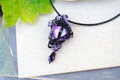 Purple Dragon's eye wire wrapped pendant  OOAK by Ianira on Etsy