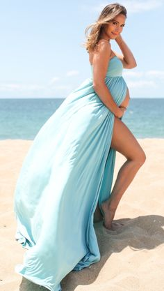 Dress and feel like a queen in this gorgeous maternity maxi dress. A strapless top to keep you cool and an open layered skirt for an elegant way to show off your bump this season. Style this maxi with wedges for a formal occasion, and sandals for casual evenings.