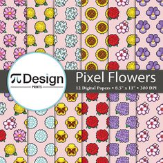 Pixel Flower digital paper pattern. Perfect for scrapbooking projects, invitations, announcements, party favors, wallpapers, graphic design, stationary and paper crafts. This paper pack features different kinds of flowers in a variety of patterns by PiDesignPrints