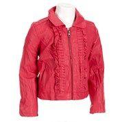 Faux Leather Jacket w/ Ruffle Trim(4-6x)