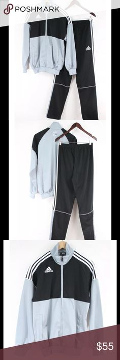 "Polyester Tracksuit Sweatpants Zip Up Jacket Condition:   Excellent Used Condition; very small stain on left calve.   Details:  Adidas, Size Small 100% Polyester Jacket:  Color block Silver and Black with 3 White Strips Across Shoulders Plastic Zipper 2 Slash Pockets Fitted at Waist and Wrists  Pants:  Black with 3 White Stripes Going up Sides Zipper At Ankles up Calves 2 Slash Pockets Drawstring Waist  Flat Measurements: Jacket: Overall Length: 27"" Sleeve Length: 27"" Bust from Armpit to…"