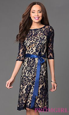 Knee Length Lace Dress with 3/4 Length Sleeves by Sally Fashion at PromGirl.com