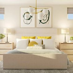 bright bedroom yellow accents white and beige bed Design Net, Design Model, Bedroom Yellow, Us Real Estate, Yellow Accents, Real Estate Development, Contemporary Bedroom, Model Homes, Home Buying