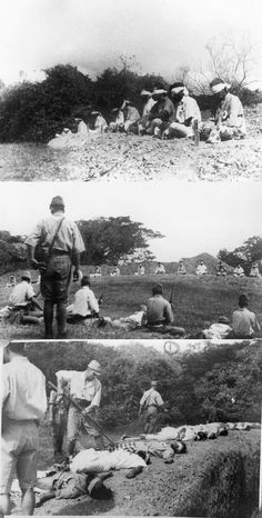 Japanese soldiers shooting Sikh prisoners who are sitting blindfolded in a rough semi-circle about 20 meters away.