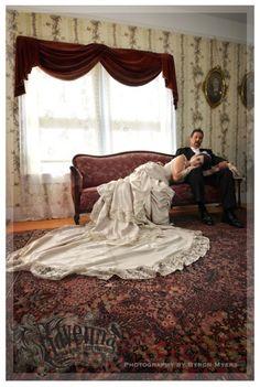 The wedding of Actor Craig Hensley and Designer/Actress/Model/Singer Jenna Miller. Wedding dress design by Jenna Miller.om Backdrop courtesy of Muheim Heritage House Museum New West, Victorian Steampunk, Ravenna, Designer Wedding Dresses, Western Wear, Wild West, Old And New, Backdrops, Om
