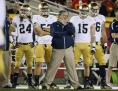 Eddie Robinson Coach of the Year Award! Notre Dame Fighting Irish's coach Brian Kelly stands on the sideline during their win over USC Trojans during their NCAA college football game at the Coliseum in Los Angeles
