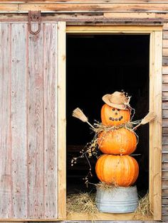 Stacked #pumpkin scarecrow #FallDIY ~ @bystephanielynn