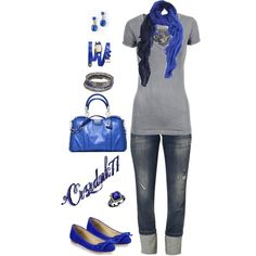 Grey and Royal Blue, created by crzrdnk77 on Polyvore