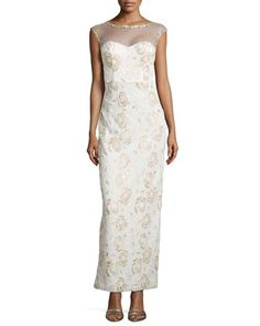Floral Embroidered Illusion Gown  by Sue Wong at Neiman Marcus.