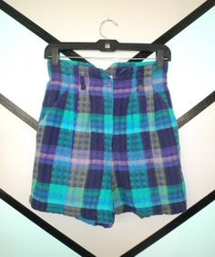 Neon High Waisted Plaid Short by DCXSpringfield on Etsy, $27.00