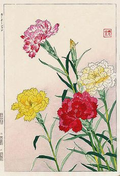Carnations  by Kawarazaki Shodo  (published by Unsodo)