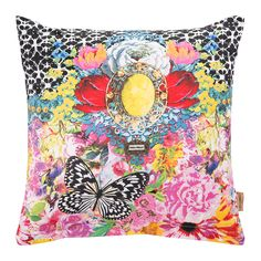 Make a bold statement with this Zaira Cushion from Melli Mello. Beautifully bright in design, it is made from 100% cotton satin and features a vibrant graphic design in a plethora of colours. Enhanced