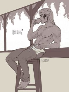 "leafgemdraws: "" ""… you look beautiful today, mi amore."" Zevran. """