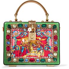 Dolce & Gabbana Carretto crystal-embellished printed patent-leather... (€3.270) ❤ liked on Polyvore featuring bags, handbags, clutches, green, patent handbags, patent leather handbags, patent leather clutches, dolce gabbana purse and horse handbags