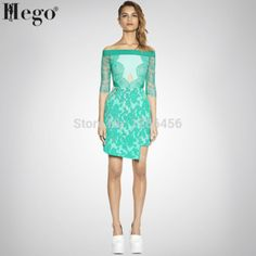 Bqueen Light Green Off the Shoulder Lace Hollow out Dress Lace Summer Dresses, Summer Dresses For Women, Formal Dresses, Dress Lace, Lace Embroidery, New Model, Dress Brands, Off The Shoulder, My Style