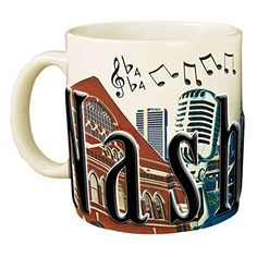 Americaware Nashville 18 oz Full Color Relief Mug >>> More details can be found by clicking on the image. Coffee Drinks, Coffee Mugs, Stoneware Mugs, Colour Images, Nashville, Are You Happy, 3 D, Brown Leather, Tableware