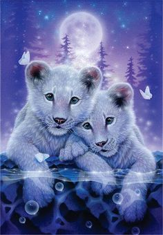 """Together"" White Lions × Acrylic on canvas, 2014 Private Collectio. - ""Together"" White Lions × Acrylic on canvas, 2014 Private Collection Gallery Bigca - Big Cats Art, Cat Art, Furry Art, Cute Animal Drawings, Cute Drawings, Drawing Animals, Cute Tigers, Tiger Art, Tiger Cubs"