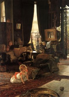 "James Jacques Joseph Tissot (1836-1902)  Hide and Seek  Oil on wood  c1880-c1882  539 x 734 cm  (17' 8.2"" x 24' .98"")  National Gallery of Art (Washington, DC, United States)"
