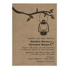 wedding invites burlap | Burlap Inspired Outdoor / Camping Wedding Invitations from Zazzle.com