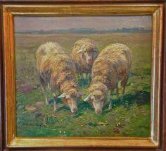 Gemälde Weidende Schafe   Arnold Moeller