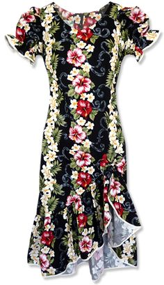 cec9f7b83d6 I like the flounce   hem of this dress. The print QUITE loud..... Makani  Blackmist Hawaiian Dress
