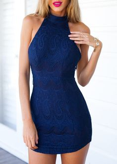 Blue Halter Backless Lace Embroidered Bodycon Dress