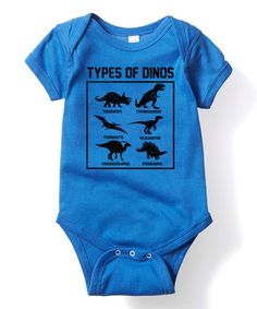Another great find on #zulily! Blue Types of Dinosaurs Bodysuit - Infant by Geek Garb #zulilyfinds