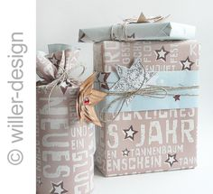 Geschenkpapier / Weihnachtswolke von StempelBox auf DaWanda.com