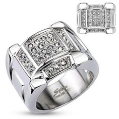 Stainless Steel Micro Paved Multi Clear Simulated Diamond Band Ring with Arced Top & Bottom Design, Width - Metal: Staniless Steel Width: 18 MM Features: Micro Paved Center Stone: Clear Cz Size: Zen, Men's Jewelry Rings, Top Band, Pave Ring, Ring Ring, Stainless Steel Jewelry, Krystal, Diamond Bands, Fashion Rings