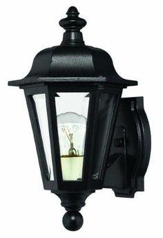 Hinkley Lighting 1819BK Manor House Outdoor Sconce, Black by Hinkley. $99.00. Black. Glass: Clear Beveled Glass. Voltage: 120. H: 12 W: 7 E: 12. c-UL-us Wet. Finish:Black, Light Bulb:(1)60w A19 Med C Incand Manor House Outdoor Sconce
