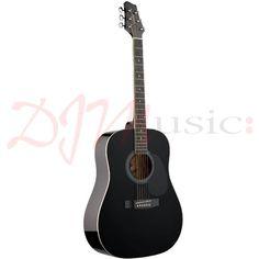 Stagg Black Acoustic Guitar SW201BK for sale at djmmusic.com