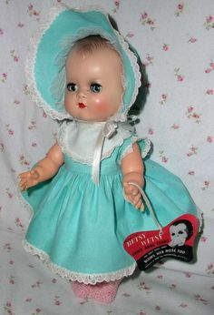 """Early 1950s 12"""" Ideal MOLDED HAIR Betsy Wetsy in Layette Suitcase"""