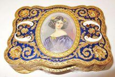 Vintage Gold Gilt Silver Enamel & Vermeil Compact Miniature Young Lady Portrait
