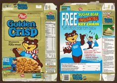 https://flic.kr/p/Pg8GTB | Golden Crisp Cereal - 1994 | Merry Christmas to all of my Flickr friends!  Here's a cereal box that I saved way back in October 1994. It's Post Golden Crisp, featuring an awesome Sugar Bear musical keychain premium. I mailed away for it and still have the toy. It's a nice likeness of Sugar Bear and it used to play his little jingle until the battery died.